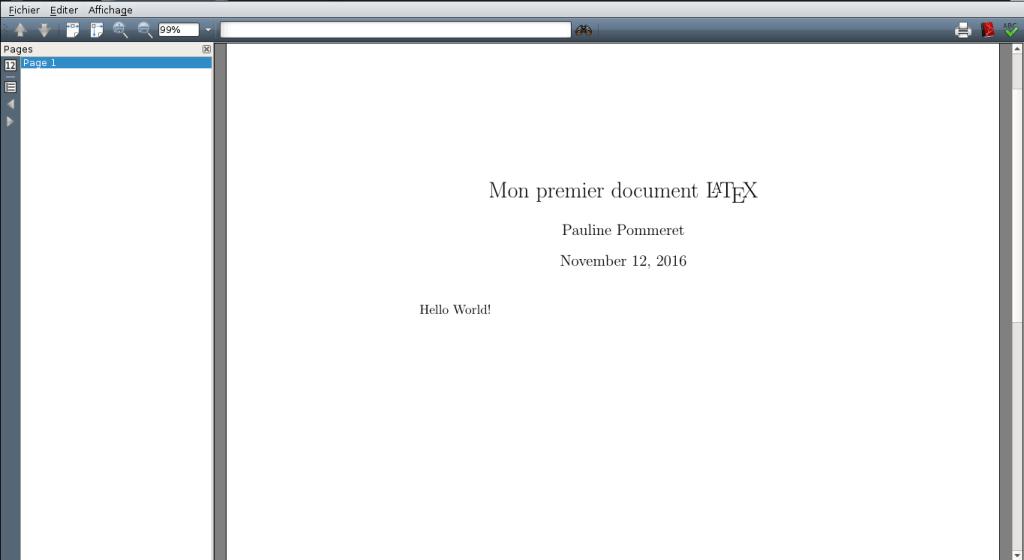 Document LaTeX avec un titre, un nom d'auteur, et une date… en anglais
