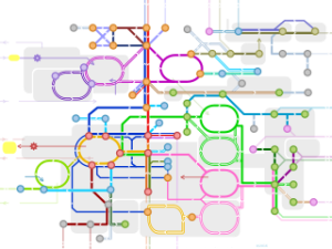 Réseau métabolique représenté comme une carte de métro
