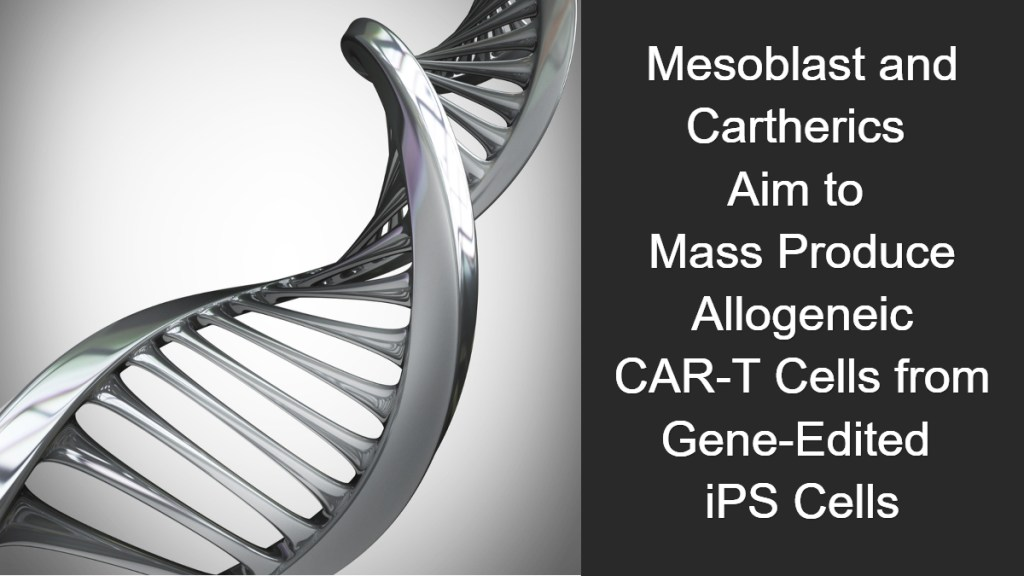 Mesoblast & Cartherics to Produce Allogeneic CAR-T Cells from Gene-Edited iPS Cells
