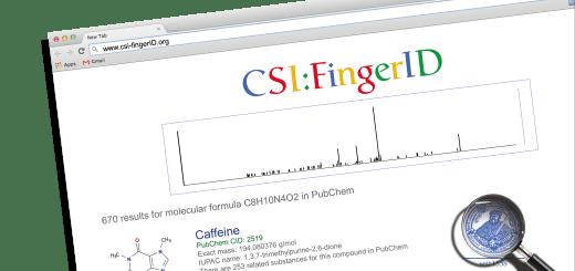 Suchmaschine mit Spektrum als Suchanfrage und Liste möglicher Strukturen als Suchergebnis
