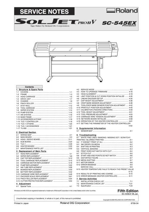 Roland Soljet Pro Ii Sc-540 Service Manual