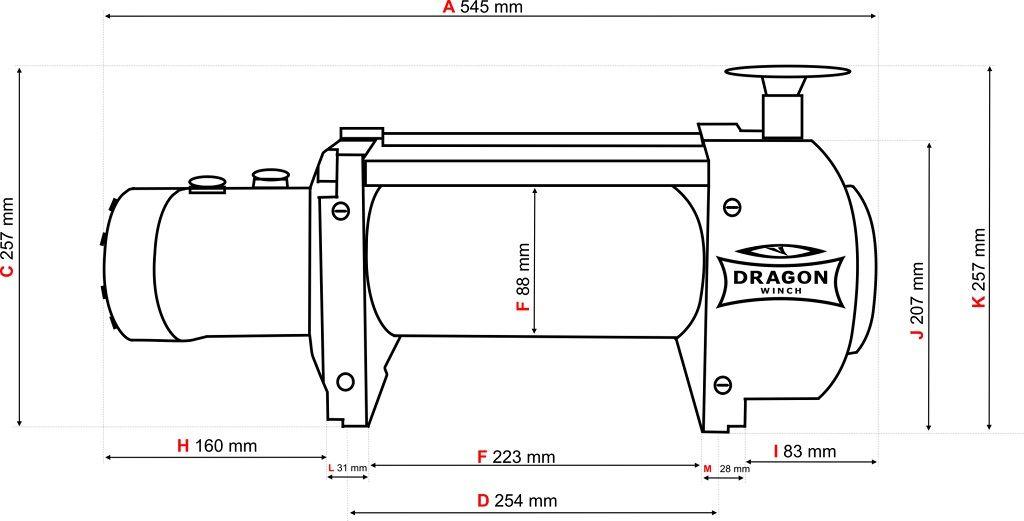 Vitlo Dragon Hidra DWHI 15000 HD, hidraulično, 6.803 kg sa čeličnom sajlom, vodilicom, bez kontrolnog seta