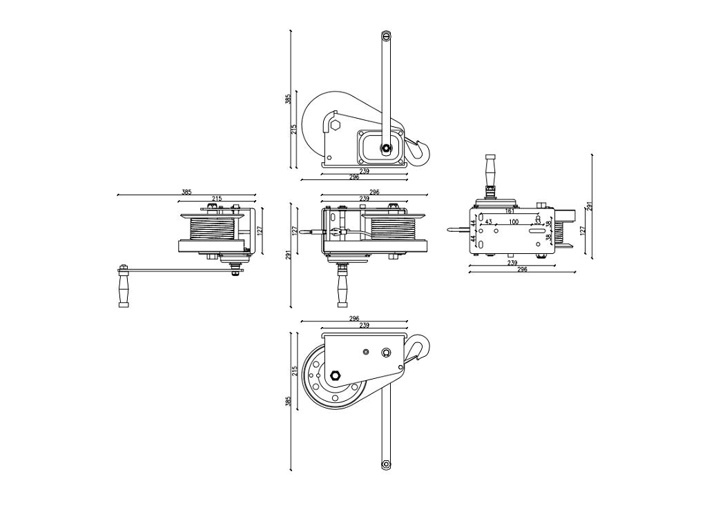 Dragon ručno vitlo s automatskom kočnicom DWKO-26HD, 1200 kg sa čeličnom sajlom 17 m