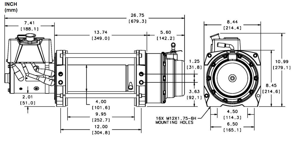 Industrijsko vitlo Warn Series 15, 24V, 6.818kg bez sajle i vodilice, s žičnim daljinskim
