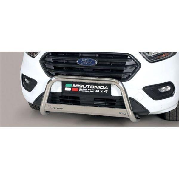 Misutonida Bull Bar Ø63mm inox srebrni za Ford Transit Custom L1 Tourneo 2018 s EU certifikatom