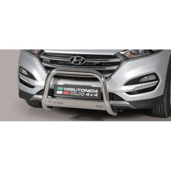 Misutonida Bull Bar Ø63mm inox srebrni za Hyundai Tucson 2015-2017 s EU certifikatom