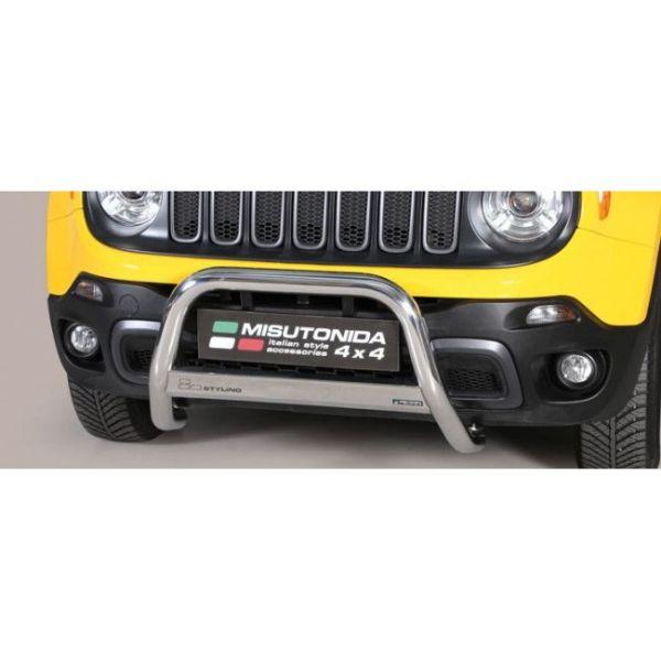 Misutonida Bull Bar Ø63mm inox srebrni za Jeep Renegade Trailhawk 2014+ s EU certifikatom