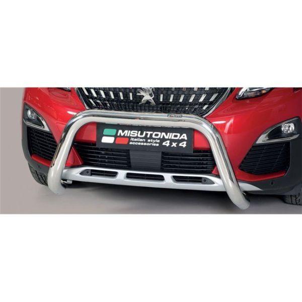 Misutonida Bull Bar Ø76mm inox srebrni za Peugeot 3008 2018+ s EU certifikatom