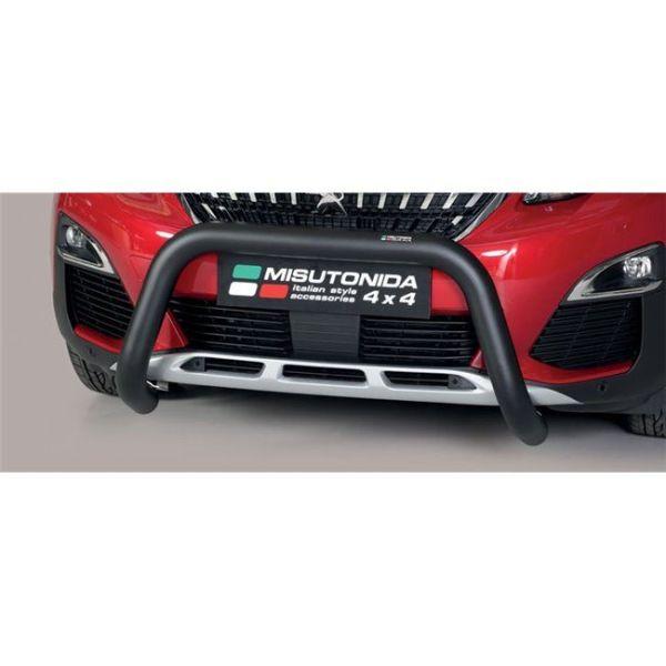Misutonida Bull Bar Ø76mm inox crni za Peugeot 3008 2018+ s EU certifikatom
