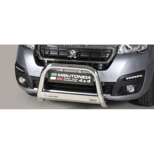 Misutonida Bull Bar Ø63mm inox srebrni za Peugeot Partner 2016 s EU certifikatom
