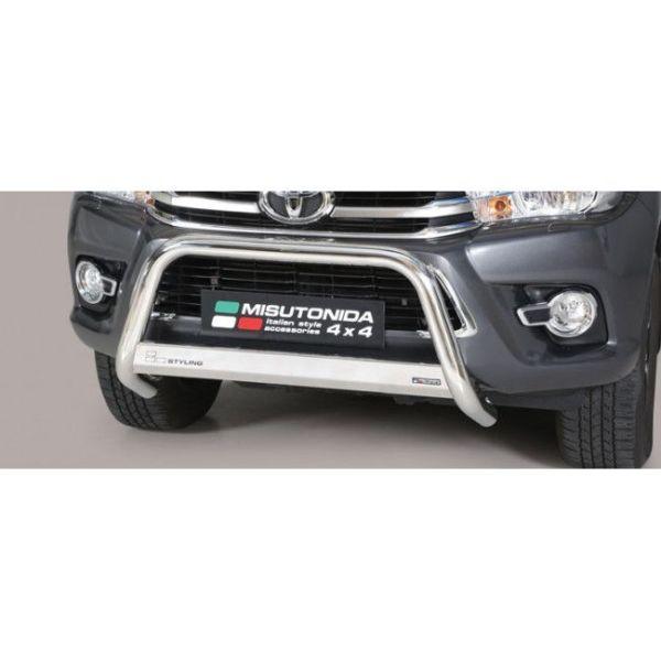 Misutonida Bull Bar Ø63mm inox srebrni za Toyota Hi Lux Double Cab, Extra Cab 2016-2018 s EU certifikatom
