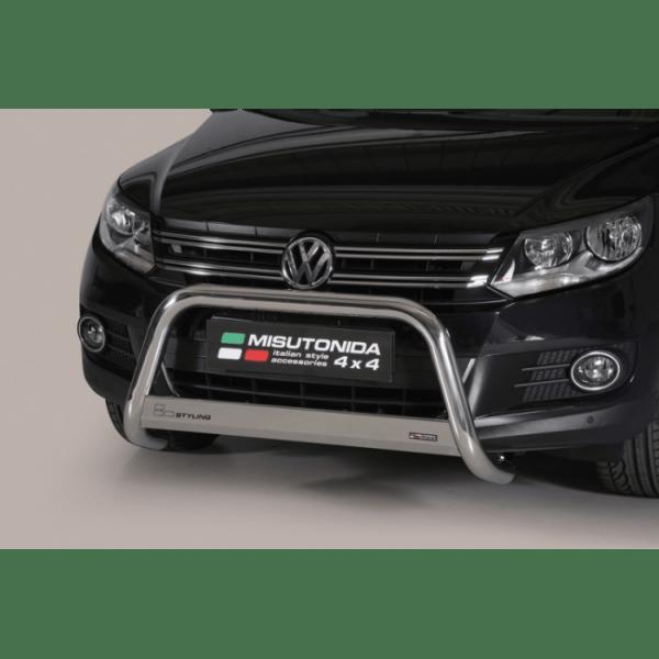 Misutonida Bull Bar Ø63mm inox srebrni za Volkswagen Tiguan 2011-2015 s EU certifikatom