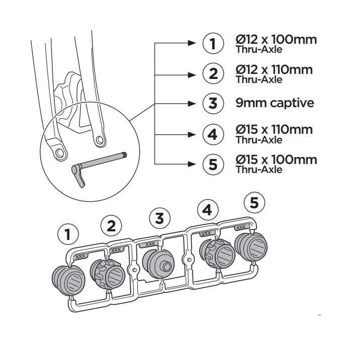 Thule FastRide 9-15mm Axle Adapter Kit za bicikle s osovinom Thru veličine 9 do 15mm