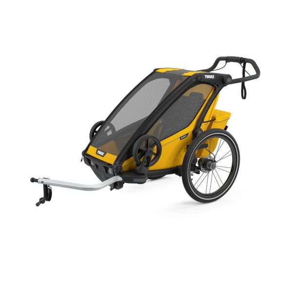 Thule Chariot Sport žuto/crna sportska dječja kolica i prikolica za bicikl za jedno dijete (4u1)