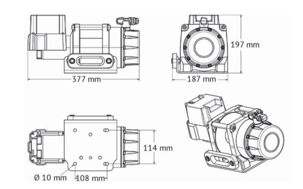 Vitlo Warn 5000 DC, 12V, 2.268kg sa sajlom, vodilicom i žičnim daljinskim