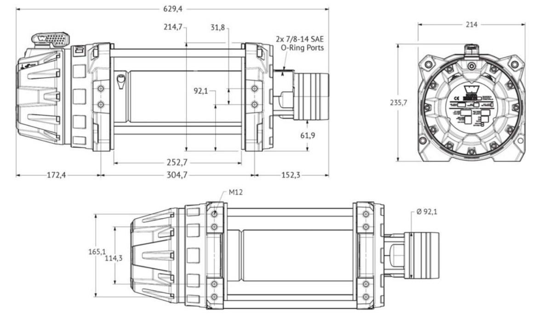 "Vitlo Warn Series 15, hidraulično, druga generacija, 5.0H motor, 10"" bubanj, 6.804 kg, bez sajle i vodilice"