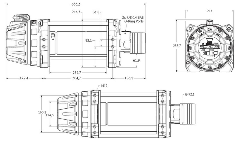 "Vitlo Warn Series 18, hidraulično, druga generacija, 6.0H motor, 10"" bubanj, 8.165 kg, bez sajle i vodilice"