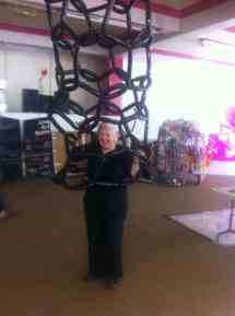 Jo trapped in a balloon model of a nanotube at ASMbly 2014.