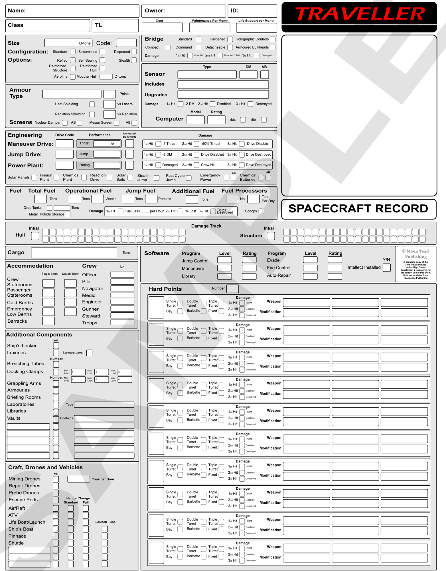 Traveller Ship Sheet