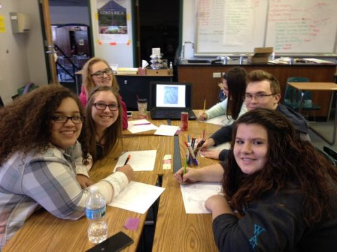 Students work in teams on Draw the Heart