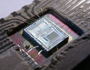 The integrated circuit from an Intel 8742, a 8...