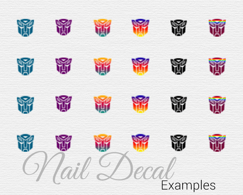photo about Printable Nail Decals known as Do-it-yourself nail decals supplying the Transformer Autobots Bionic
