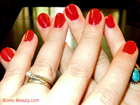 Bionic Beauty wearing Hot Rod Red nail polish by Gelish