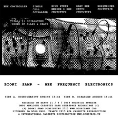 Bioni Samp - Bee Frequency Electronics, Cassette Release Flyer