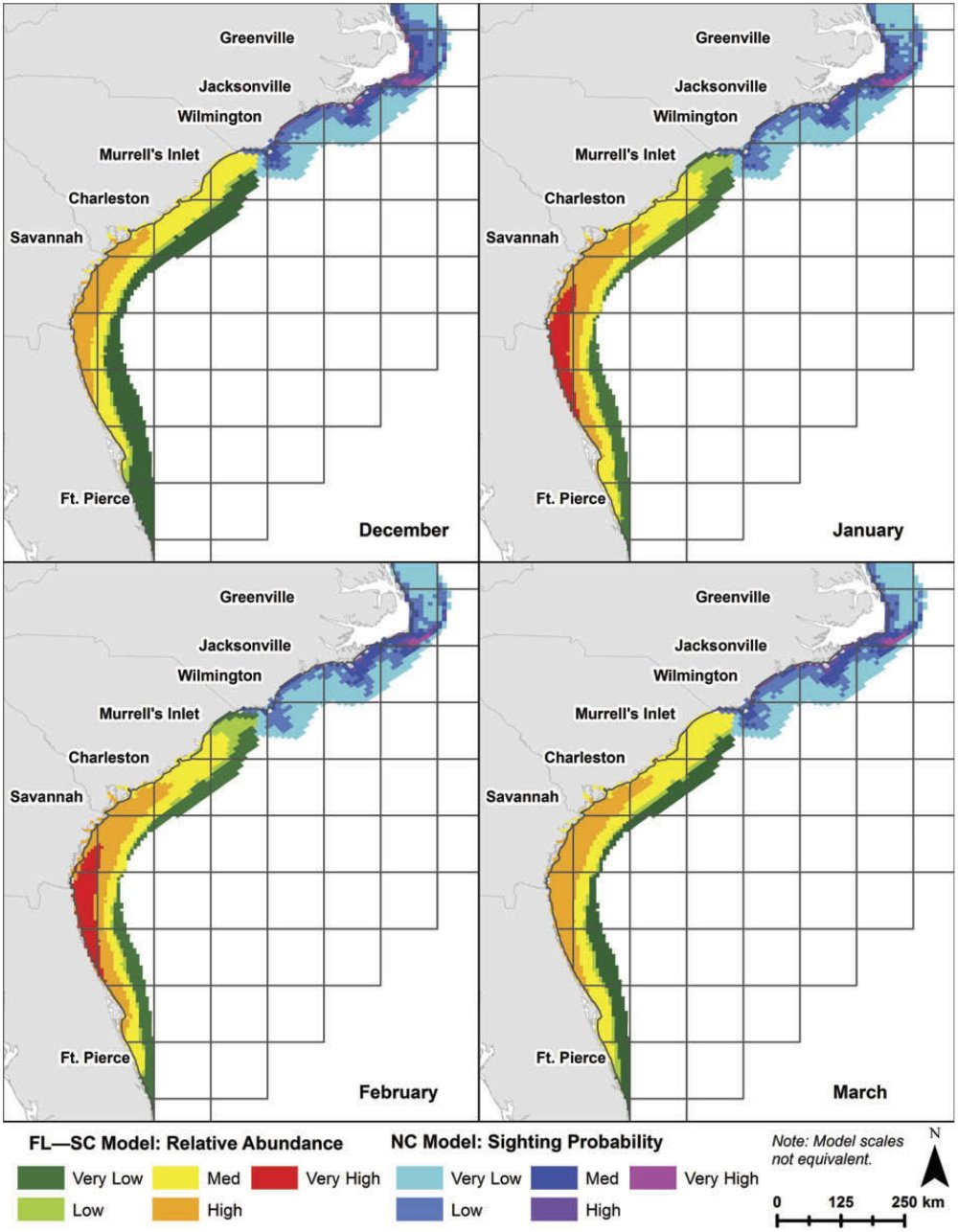 medium resolution of predicted distributions of right whales based on modeled habitat from right whale sightings for florida south carolina and north carolina