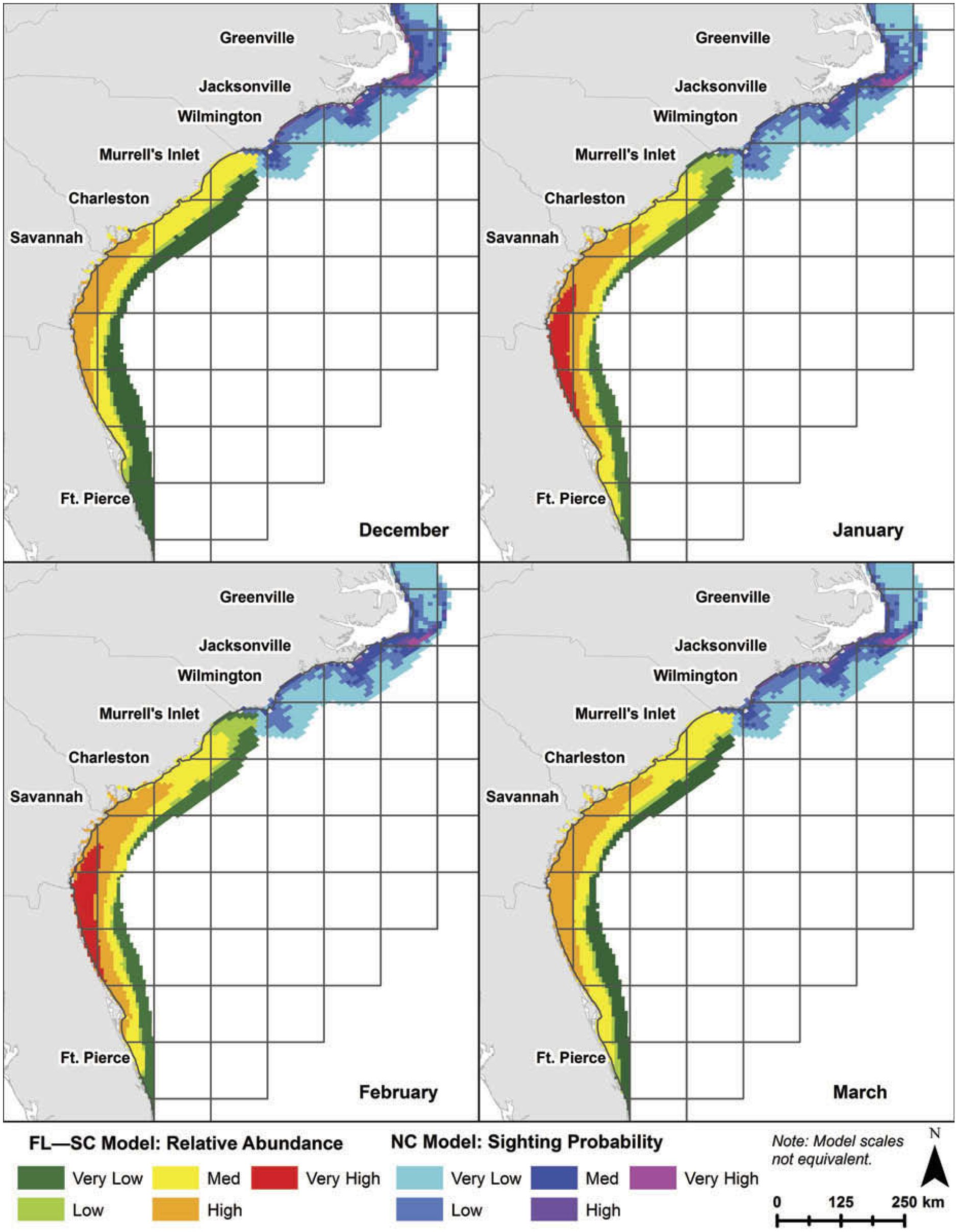 hight resolution of predicted distributions of right whales based on modeled habitat from right whale sightings for florida south carolina and north carolina