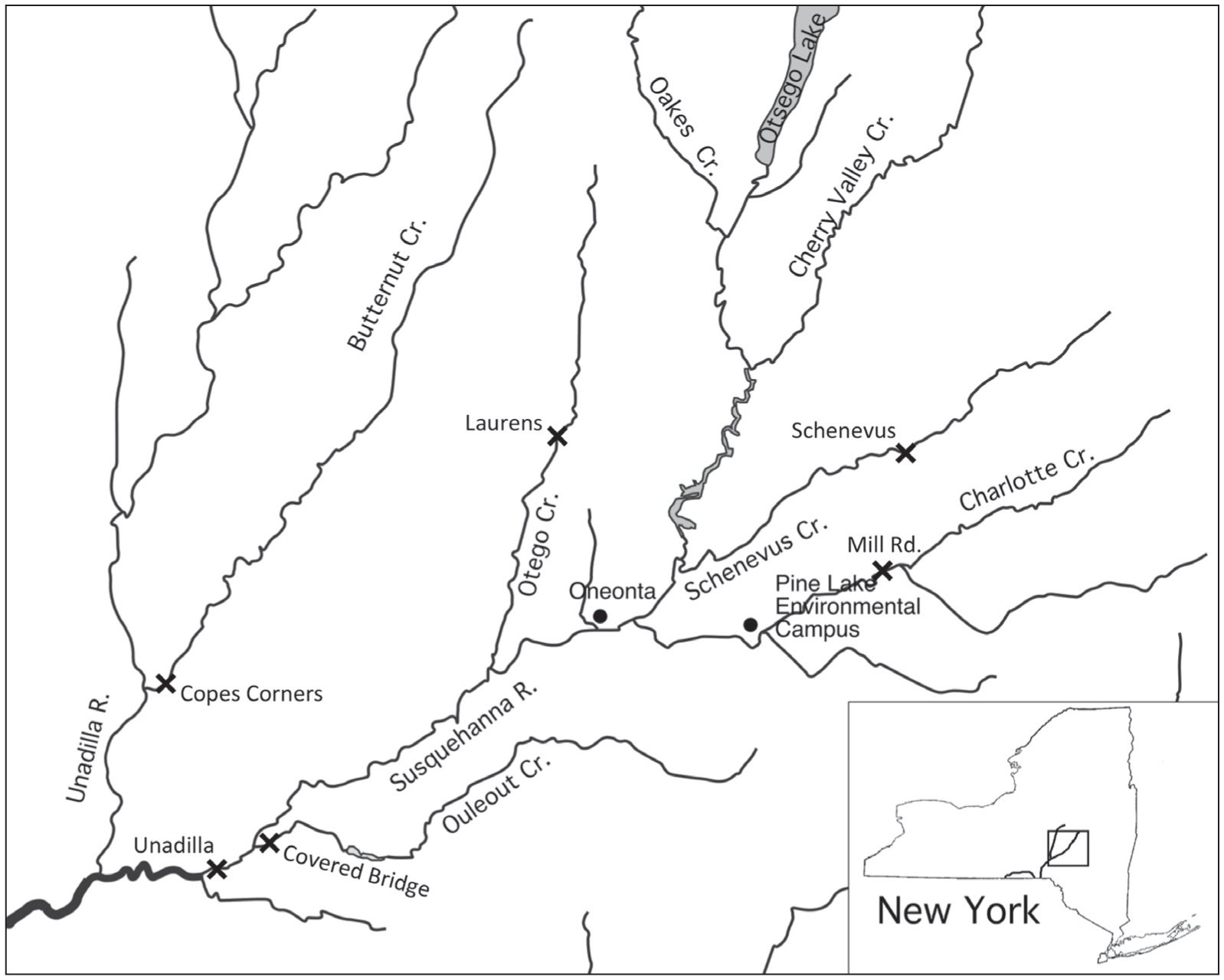 hight resolution of  showing the crayfish sampling sites x named in figure 2 and the location of the enclosure experiments pine lake environmental campus