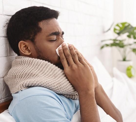 Influenza man sick