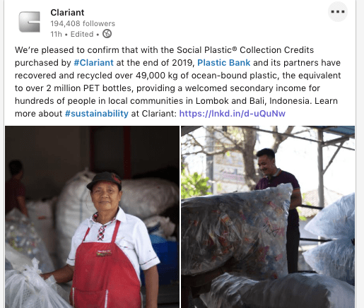 Clariant Plastic Bank Linkedin Post