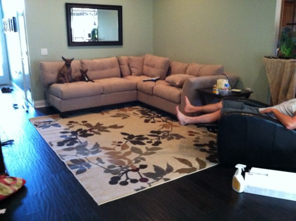 Proper way to put area rug in living room for How to put a rug in the living room