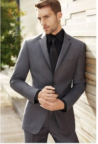 Grey Suit, Black Shirt and Black tie