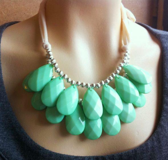 Mint Briolette Bridesmaids necklaces! :  wedding bib necklace blue bridesmaids green ivory jewelry mint necklace seafoam silver statement neckalce teal Mint Necklace