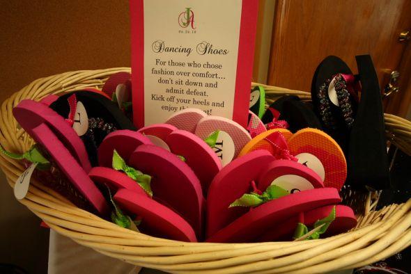 Flip Flop Basket: Dancing Shoes :  wedding flip flops dancing shoes flip flop basket black green pink bridesmaids diy reception Smallamy0391