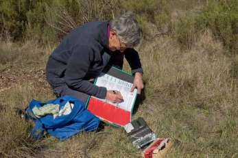 Chris servicing a camera trap
