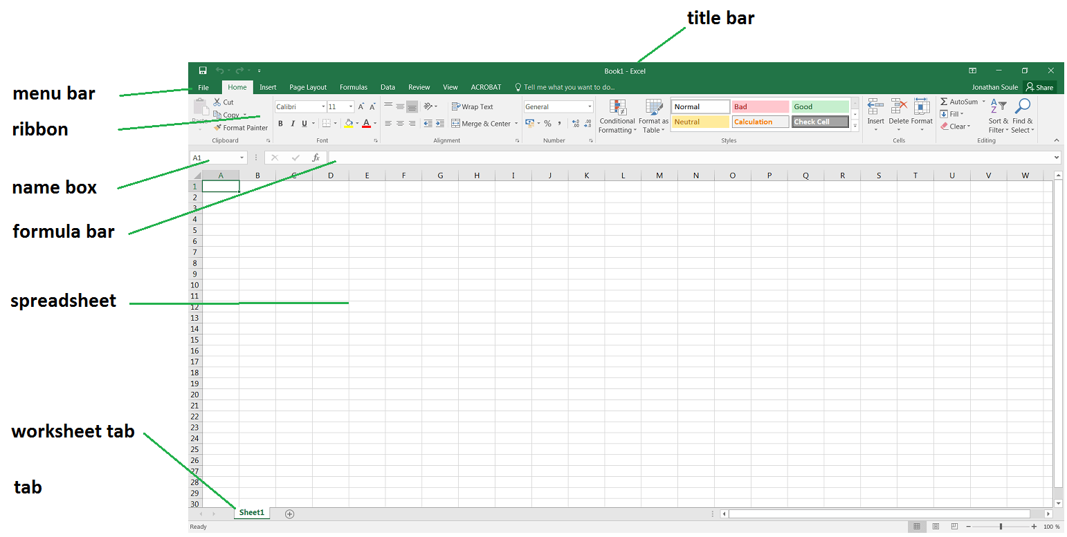 1 Starting Up Ms Excel Biost Ts