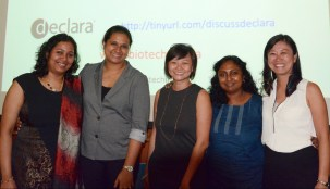Biotechin.Asia event, Career Talks: the Right Track For You, at NTU, Singapore on August 27th 2015.(From L-R) Dr. Laxmi Iyer, Dr. Sandhya Sriram, Dr. Shuwen Koh, Dr. Vandana Ramachandran, Dr. Sierin Lim