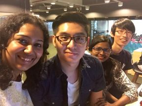 With our awesome interns: Joeshua, Vidhya and Vincent