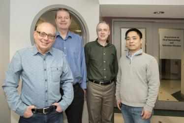 Jan Potempa, Ph.D., D.Sc., David A. Scott, Ph.D., Richard J. Lamont, Ph.D., and Huizhi Wang, M.D., Ph.D. CREDIT: UofL