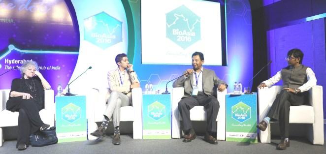 BioAsia 2016 Startup Showcase panelists - LtoR: Ms Ada Yonath, Mr. Jay Krishnan, Mr. Suresh Challa and Mr. Shakthi Nagappan