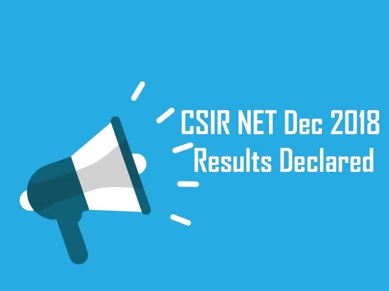 CSIR NET Dec 2018 Results