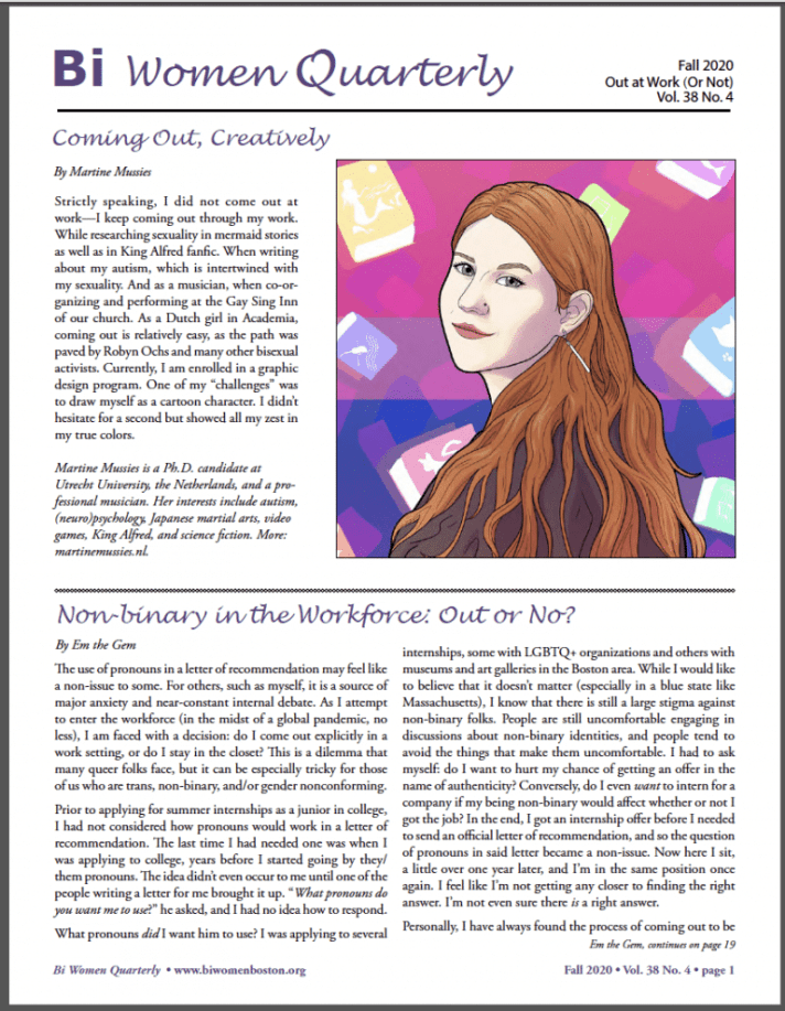 bi women quarterly magazine cover, a basic text newsletter with an illustration of a red haired bi person looking over their shoulder, framed by the bi flag