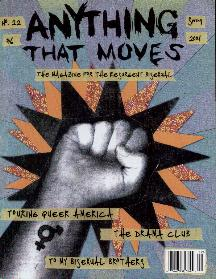 anything that moves magazine cover, a collage featuring patterned paper around a black and white photo of a raised fist with the transgender symbol drawn on the wrist.