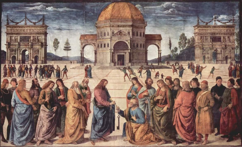 Pietro Perugino, Krist predaje ključeve sv. Petru, 1480.-1482., freska, oko 335 × 550 cm.