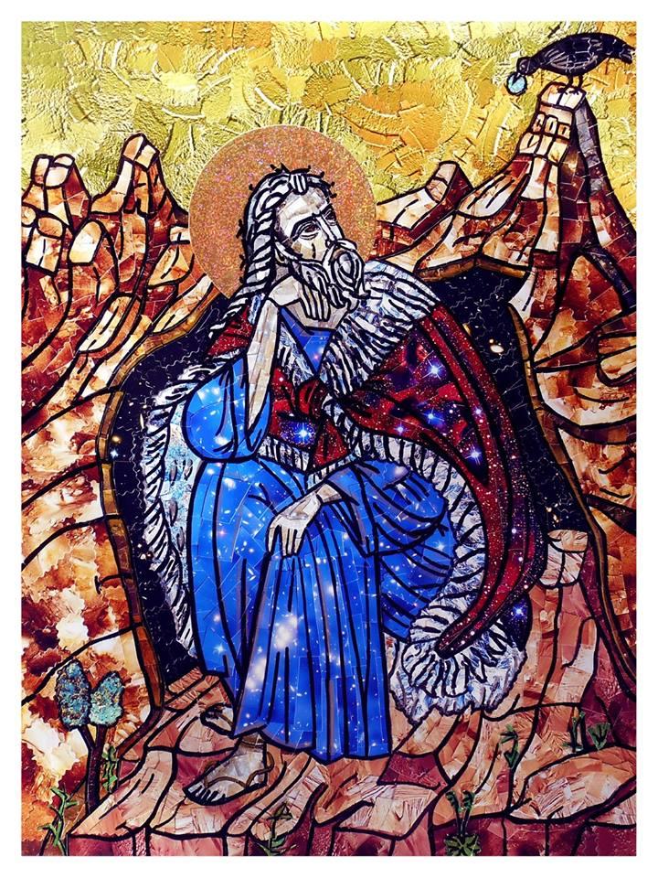 Saint Elijah - Collage, 48cmx36cm, 2014, by Mirjana Nikolić.