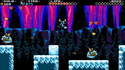 Shovel Knight jumping in the midst of a winter wonderland. (Image credit to Yacht Club Games, retrieved from the Shovel Knight press kit)