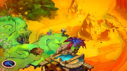 Sandy Mountains loom beneath the rubble of the Calamity. (Image credit to Supergiant Games, retrieved from their official Bastion page)